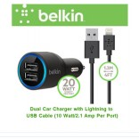 Belkin 2.1 A Dual USB Car Charger with Lightning Charge and Sync Cable for iPhone 5, 5c, 5s, 6, 6 Plus, iPad Air, 4th Gen and Mini iPad